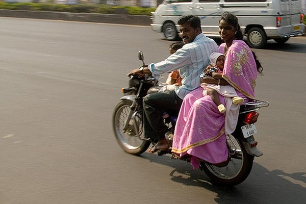 entire family on motorcycle