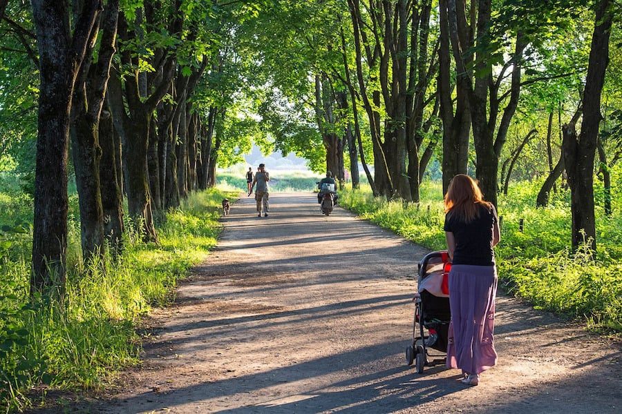tree lined walk for mom with stroller