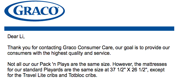 response from graco customer care